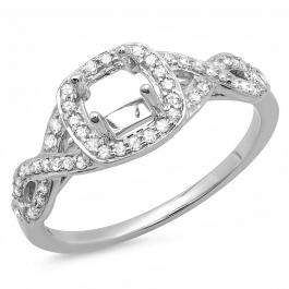 0.25 Carat (ctw) 14K White Gold Round White Diamond Ladies Swirl Engagement Semi-Mount Ring 1/4 CT (No Center Stone)