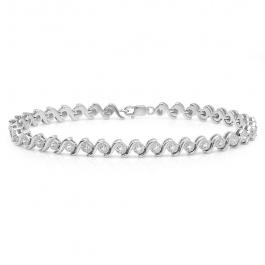 0.18 Carat (ctw) Sterling Silver Real Round Cut Diamond Ladies Tennis Bracelet