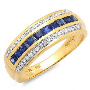 0.80 Carat (ctw) 10k Yellow Gold Princess Cut Blue Sapphire & Round White Diamond Ladies Anniversary Wedding Band 3/4 CT