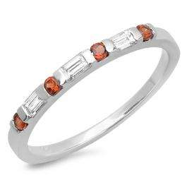 0.25 Carat (ctw) 14K White Gold Round Red Garnet and White Baguette Cut Diamond Ladies Anniversary Wedding Band Stackable Ring 1/4 CT