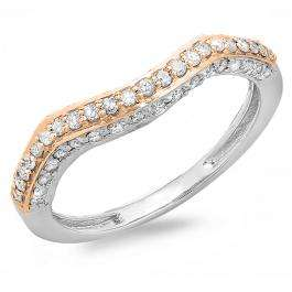0.45 Carat (ctw) Two Tone Rose Gold Plated 14K White Gold Round Diamond Ladies Contour Anniversary Wedding Stackable Band Guard Ring 1/2 CT