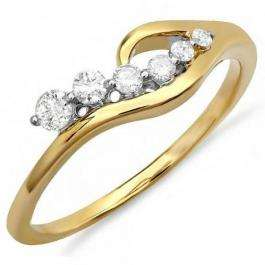 0.23 Carat (ctw) 14K Yellow Gold Real Round White Diamond Ladies Right Hand Journey Ring 1/4 CT