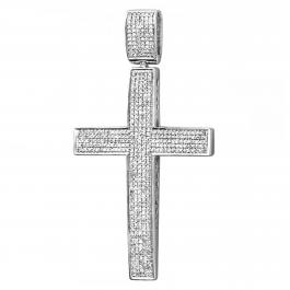 1.00 Carat (ctw) Sterling Silver Round Diamond Men's Hip Hop Religious Micro Pave Cross Pendant 1 CT