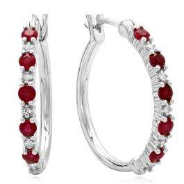 0.75 Carat (ctw) Sterling Silver Round White Diamond & Red Ruby Ladies Fine Dainty Hoop Earrings 3/4 CT