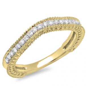0.25 Carat (ctw) 18K Yellow Gold Round Cut Diamond Ladies Millgrain Anniversary Wedding Band Stackable Guard Ring 1/4 CT