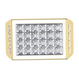 3.25 Carat (ctw) 18K Yellow Gold Princess Cut Diamond Men's Invisible Set Anniversary Wedding Band