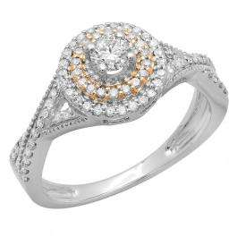 0.60 Carat (ctw) Two Tone Rose Gold Plated 10K White Gold Round Cut Diamond Ladies Crossover Swirl Bridal Halo Engagement Ring