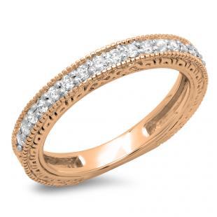 0.33 Carat (ctw) 10K Rose Gold Round Cut Diamond Ladies Millgrain Anniversary Wedding Stackable Band 1/3 CT