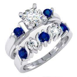 1.85 Carat (ctw) 14K White Gold Round Blue & White Sapphire Ladies 3 Stone Bridal Engagement Ring Matching Band Set