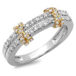 0.45 Carat (ctw) 10K Two Tone Gold Round Diamond Ladies Double Row Anniversary Wedding Band 1/2 CT