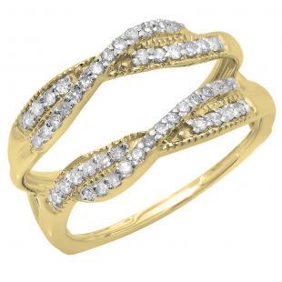 0.40 Carat (ctw) 14K Yellow Gold Round Cut Diamond Ladies Anniversary Wedding Band Swirl Enhancer Guard Double Ring