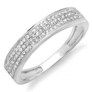 0.15 Carat (ctw) 10K White Gold Round Cut Diamond Ladies Anniversary Wedding Band