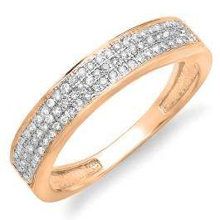 0.15 Carat (ctw) 18K Rose Gold Round Cut Diamond Ladies Anniversary Wedding Band