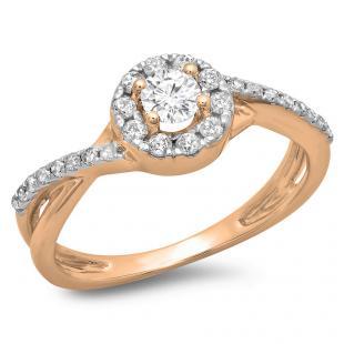 0.50 Carat (ctw) 14K Rose Gold Round Cut Diamond Ladies Swirl Split Shank Bridal Halo Engagement Ring 1/2 CT