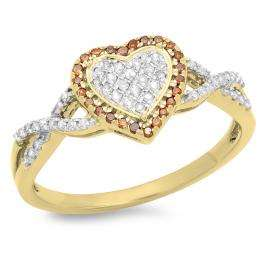 0.25 Carat (ctw) 10K Yellow Gold Round Cut Red & White Diamond Ladies Bridal Swirl Promise Heart Ring 1/4 CT