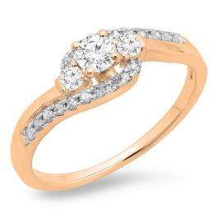 0.50 Carat (ctw) 10K Rose Gold Round Cut Diamond Ladies Bridal Bypass Swirl 3 Stone Engagement Ring 1/2 CT