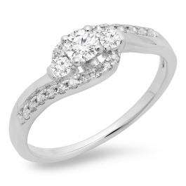 0.50 Carat (ctw) 10K White Gold Round Cut Diamond Ladies Bridal Bypass Swirl 3 Stone Engagement Ring 1/2 CT