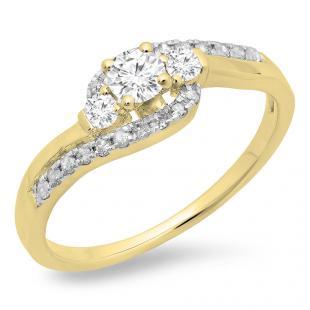 0.50 Carat (ctw) 10K Yellow Gold Round Cut Diamond Ladies Bridal Bypass Swirl 3 Stone Engagement Ring 1/2 CT