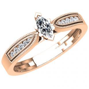 0.30 Carat (ctw) 10K Rose Gold Marquise & Round Cut Diamond Ladies Bridal Vintage Style Engagement Ring 1/3 CT