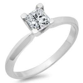 IGI CERTIFIED 0.50 Carat (ctw) 14K White Gold Princess Cut Diamond Ladies Bridal Solitaire Engagement Ring 1/2 CT