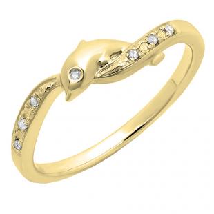 0.05 Carat (ctw) 18K Yellow Gold Round Cut Diamond Ladies Right Hand Dolphin Ring