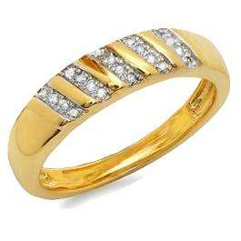 0.12 Carat (ctw) 18K Yellow Gold Plated Sterling Silver Round Diamond Men's Wedding Anniversary Band