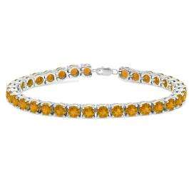 15.00 Carat (ctw) Sterling Silver Real Round Cut Citrine Ladies Tennis Bracelet