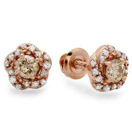 0.45 Carat (ctw) 10K Rose Gold Real Round Cut Champagne & White Diamond Ladies Cluster Halo Style Stud Earrings 1/2 CT