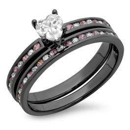 2.00 Carat (ctw) Black Rhodium Plated Sterling Silver Heart Cut White & Round Pink Sapphire Cubic Zirconia Ladies Bridal Engagement Ring With Matching Band Set 2 CT