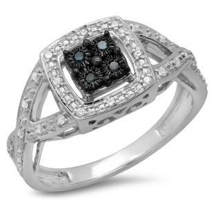 0.15 Carat (ctw) Sterling Silver Round Cut Blue & White Diamond Ladies Swirl Split Shank Bridal Promise Ring