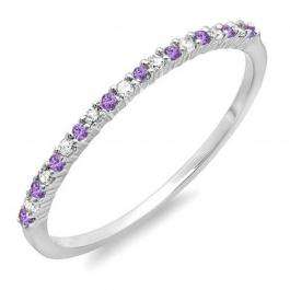 0.16 Carat (ctw) 10K White Gold Round Amethyst & White Diamond Ladies Anniversary Wedding Band Stackable Ring