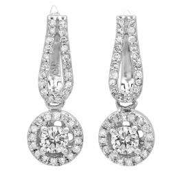 0.60 Carat (ctw) 10K White Gold Round White Diamond Ladies Halo Style Dangling Drop Earrings
