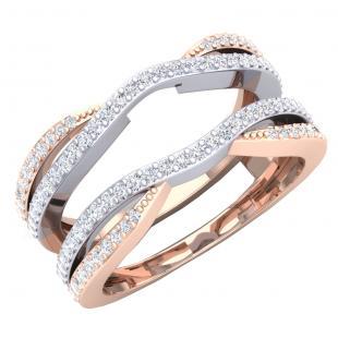 0.50 Carat (ctw) 10K White & Rose Gold Two Tone Round Cut Diamond Ladies Anniversary Wedding Band Enhancer Guard Double Chevron Ring 1/2 CT