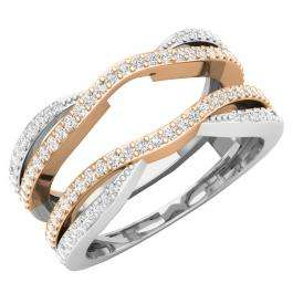 0.50 Carat (ctw) 18K White & Rose Gold Two Tone Round Cut Forever Brilliant Moissanite Ladies Anniversary Wedding Band Enhancer Guard Double Chevron Ring 1/2 CT
