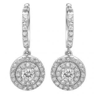 0.70 Carat (ctw) 14K White Gold Round White Diamond Ladies Halo Style Dangling Earrings 3/4 CT