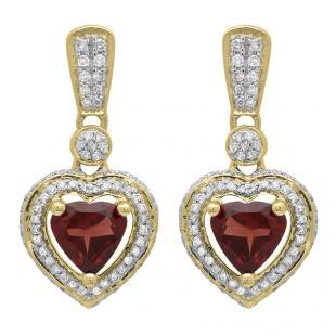 2.20 Carat (ctw) 14K Yellow Gold Heart Cut Red Garnet & Round Cut White Diamond Ladies Heart Dangling Earrings