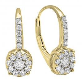 0.55 Carat (ctw) 14K Yellow Gold Round Cut White Diamond Ladies Cluster Style Dangling Drop Earrings 1/2 CT