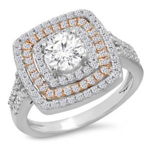 1.45 Carat (Ctw) Two Tone Rose Gold Plated 14K White Gold Round Cut Diamond Ladies Bridal Halo Split Shank Engagement Ring 1 1/2 CT
