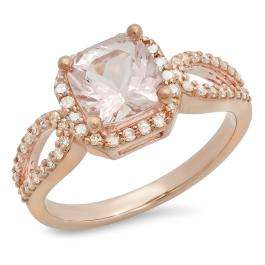 1.60 Carat (ctw) 14K Rose Gold Cushion Morganite & Round White Diamond Ladies Bridal Halo Style Split Shank Engagement Ring