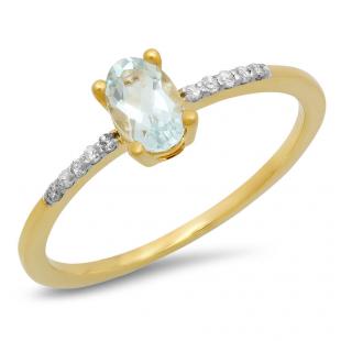 0.50 Carat (ctw) 10K Yellow Gold Oval Cut Aquamarine & Round Cut White Diamond Ladies Bridal Engagement Promise Ring 1/2 CT