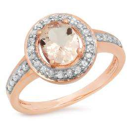 1.20 Carat (ctw) 14K Rose Gold Oval Cut Morganite & Round White Diamond Ladies Halo Bridal Engagement Ring 1 1/4 CT