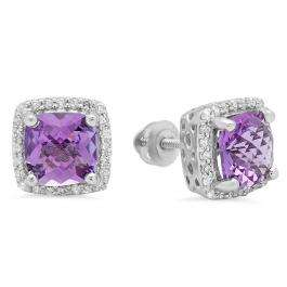 2.80 Carat (ctw) 18K White Gold Cushion Cut Amethyst & Round Cut White Diamond Ladies Square Frame Halo Stud Earrings