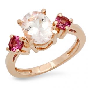 2.1 Carat (Ctw) 14K Rose Gold Oval Cut Morganite & Round Cut Tourmaline Ladies Bridal 3 Stone Engagement Ring