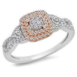 0.50 Carat (ctw) Two Tone Rose Gold Plated 14K White Gold Round Diamond Ladies Swirl Split Shank Bridal Cluster Engagement Ring 1/2 CT