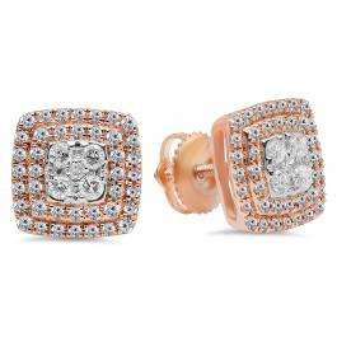 0.65 Carat (Ctw) 10K Rose Gold Round Cut White Diamond Ladies Cluster Style Stud Earrings