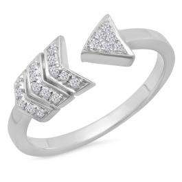 0.15 Carat (ctw) Sterling Silver Round White Diamond Ladies Bridal Vintage Right Hand Arrow Ring
