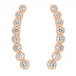 0.60 Carat (ctw) 10K Rose Gold Round Cut White Diamond Ladies Journey Curved Climber Earrings