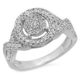 0.34 Carat (ctw) Sterling Silver Round White Diamond Ladies Micro Pave Engagement Ring 1/3 CT