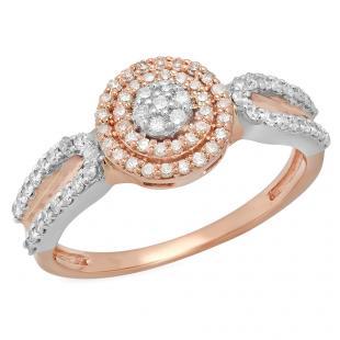 0.45 Carat (ctw) Two Tone Rose Gold Plated 10K White Gold Round White Diamond Ladies Swirl Split Shank Bridal Cluster Engagement Ring