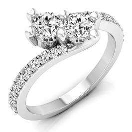 1.50 Carat (ctw) 14K White Gold Round White Cubic Zirconia CZ Ladies Two Stone Bypass Style Bridal Engagement Ring 1 1/2 CT